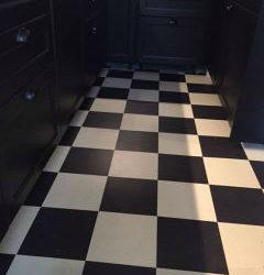 Marmoleum zwart wit in keuken